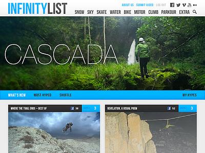 New header for InfinityList.com web header navigation clean social