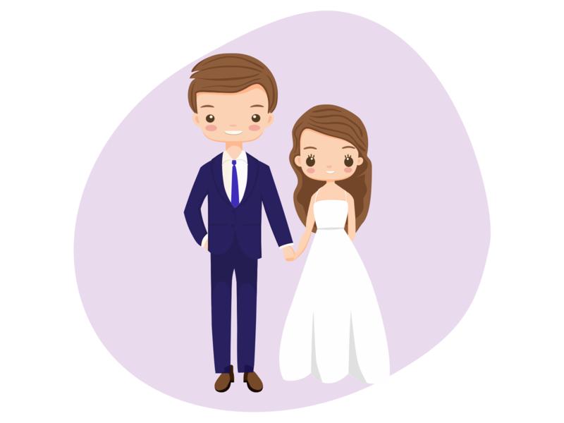Wedding day illustration couples wedding invitation wedding