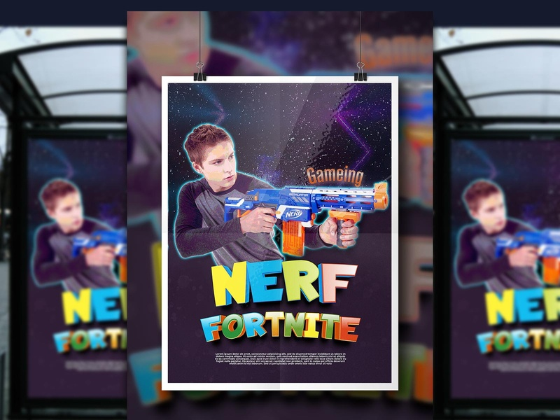 Kids gaming poster design poster art sports colorful nerf game kids illustration illustrator photoshop corporate identity business corporate vector design illustration branding logo poster design graphic design kids poster