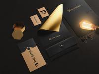 T D luxury Logo brand stationary design
