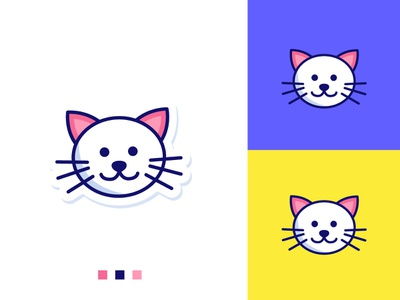 Smile Cat Head concept abstract decoration  company elegant typography vector corporate abstract background corporate identity business design icon modern logo branding illustration love animal dog cats smile