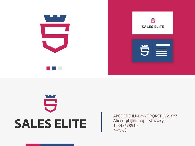 Sales Elite brand logo clean app logotype monogram black blue abstract crown elite sale corporate identity business corporate vector modern icon design illustration branding logo