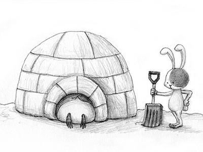 Igloo! penguin drawing illustration rabbit black and white cute igloo winter snow japanese