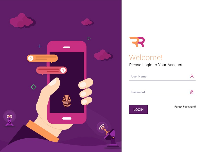 Login screen banking single page colorful illustration mobile design website uiux