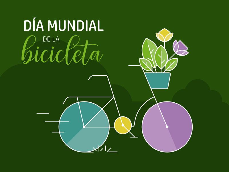 Día mundial de la bicicleta geometric eco green vector lineal flores flowers bicycle bike