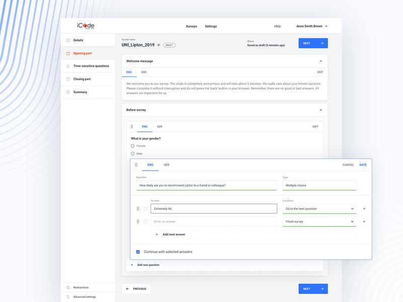 iCode - Online Survey App blue web sketch minimal uidesign clean dashboard form survey ux ui