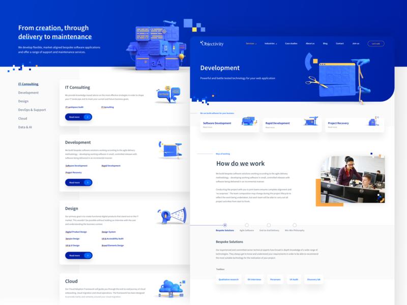 Objectivity - Company Website 3d blue website webdesign company design sketch ux ui