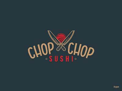 Chop Chop Sushi Logo logo knife dribbble hello debuts sushilogo sushi chopchop