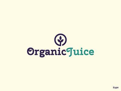 Organic Juice Logo typography nature leaf logo juice organic