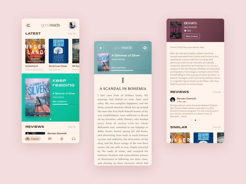 Goodreads Redesign colorful android minimal app design design app inspiration interface sketchapp reading review book goodreads design uiuxdesign uiux ui aesthetics