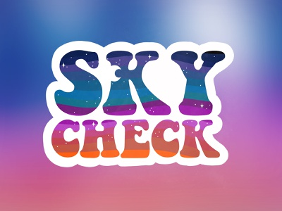 Sky Check Sticker illustration night sky moon stars sticker sky check sunset sky