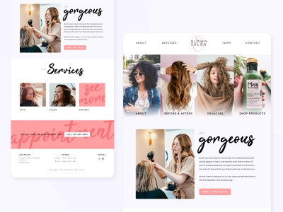 Blown Hair Salon hairdresser hair girly pink modern design clean ui layout landing page uidesign ux beauty hair salon homepage website