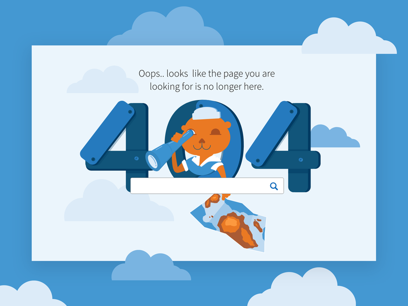 Lost At Sea visual design website 404 error page 404 illustration