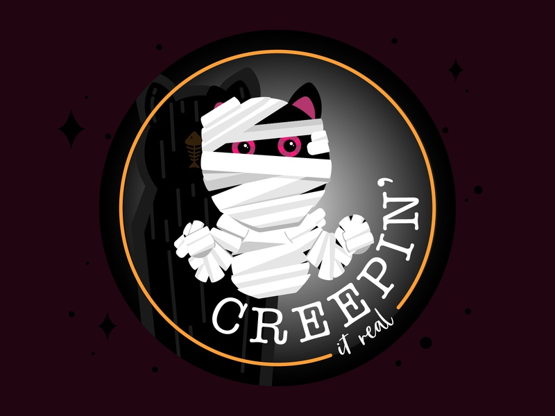 Creepin' It Real coffin sticker spooky illustration stickermule cat mummy halloween