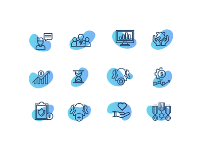 Wealth Management UI Icon Set banking wealth management military product web site ui design gradient line icon minimal icons set homepage icons ui branding