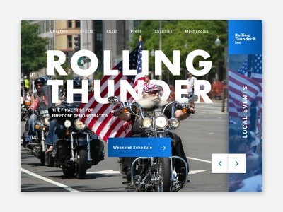 Rolling Thunder Dribble veterans military motorcycle pow mia rolling thunder memorial day web  design ui homepage website landing page