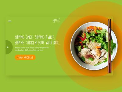 Send Noods food delivery website concept landing page ui design foodie ui website