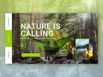 Camping On Repeat Dribble website landing page design ui hammock hiking camping national parks