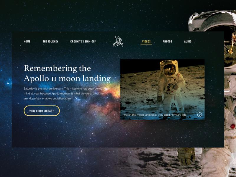 Apollo11 Anniversary uidesign ui webdesign clean landing  page apollo11 astronaut moon