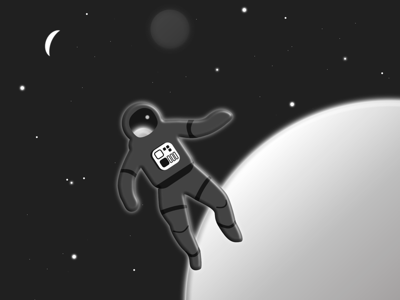 Lost in Space astronaut lost spacesuit space black and white illustration design