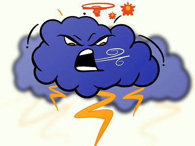 Vectober 17 - Storm lightning cloud angry storm inktober inktober2020 vector illustration design