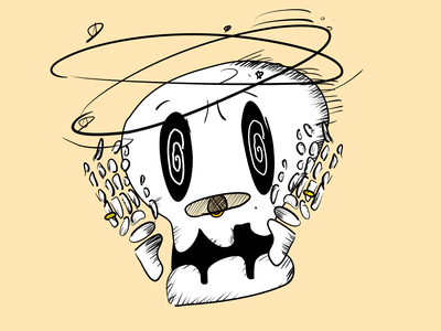 Vectober 19 - Dizzy dizzy skull skeleton vectober inktober2020 inktober illustration design