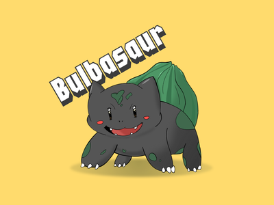 Bulbasaur cute cartoon bublasaur pokemon illustration design