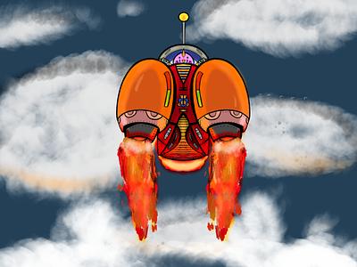 Outta Here spaceship space rocket illustration design