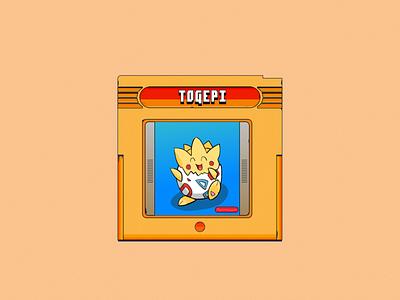 Togepi illustration design gameboy cartridge togepi pokemon