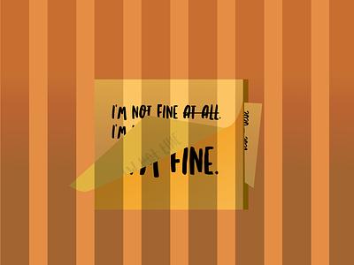 Not Okay note sticky note illustration design