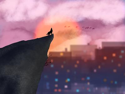 Dawn's Peak city illustration design
