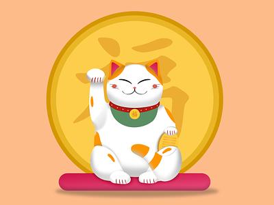 Maneki Neko chinese maneki neko cat fortune illustration design