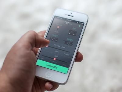 Opti Diet iOS app UI