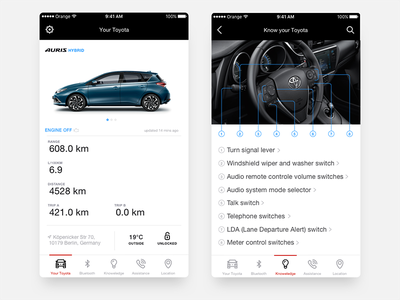 My Toyota iOS assistant  location engine hybrid auris toyota ui distance manual automotive car mobile