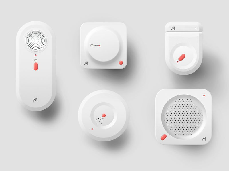 Smart home devices devices connected iot photoshop render sensors smart home white id 3d industrial design