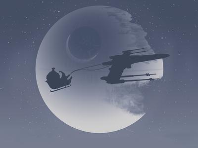 Star Wars Christmas illustration star wars santa xwing deathstar space stars christmas
