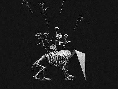 Life illustration milliondirtyways dreams manipulation digital concrete skeleton white black roses