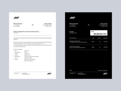 Head letter and invoice take 4 white black minimal branding print headletter invoice