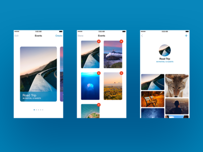 Photo sharing app blue minimal clean ui iphone ios