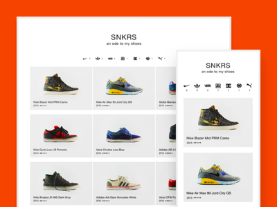 SNKRS shoes white minimal clean responsive website
