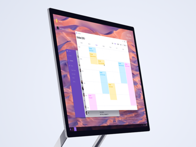 Windows 11 concept contacts calendar app purple white minimal clean os windows ux ui
