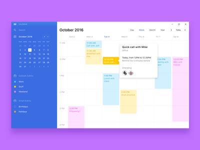 W11 Calendar windows ux ui os minimal clean navigation menu sidebar event calendar app