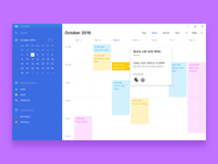 W11 Calendar windows ux ui os minimal clean navigation menu sidebar event calendar app