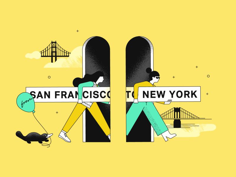 Plaid: from SF to NY monoweight brooklyn bridge golden gate bridges platypus new york san francisco design illustration fintech