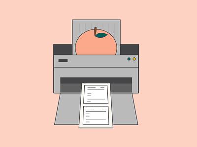 Peach Print Illustration vector flat design graphic design sketch drawing print icon illustration