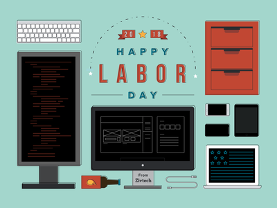 Labor Day illustration wireframing coding dev computer icon ux flatdesign flat ui phone startup tech socialmedia media social graphic day labor laborday