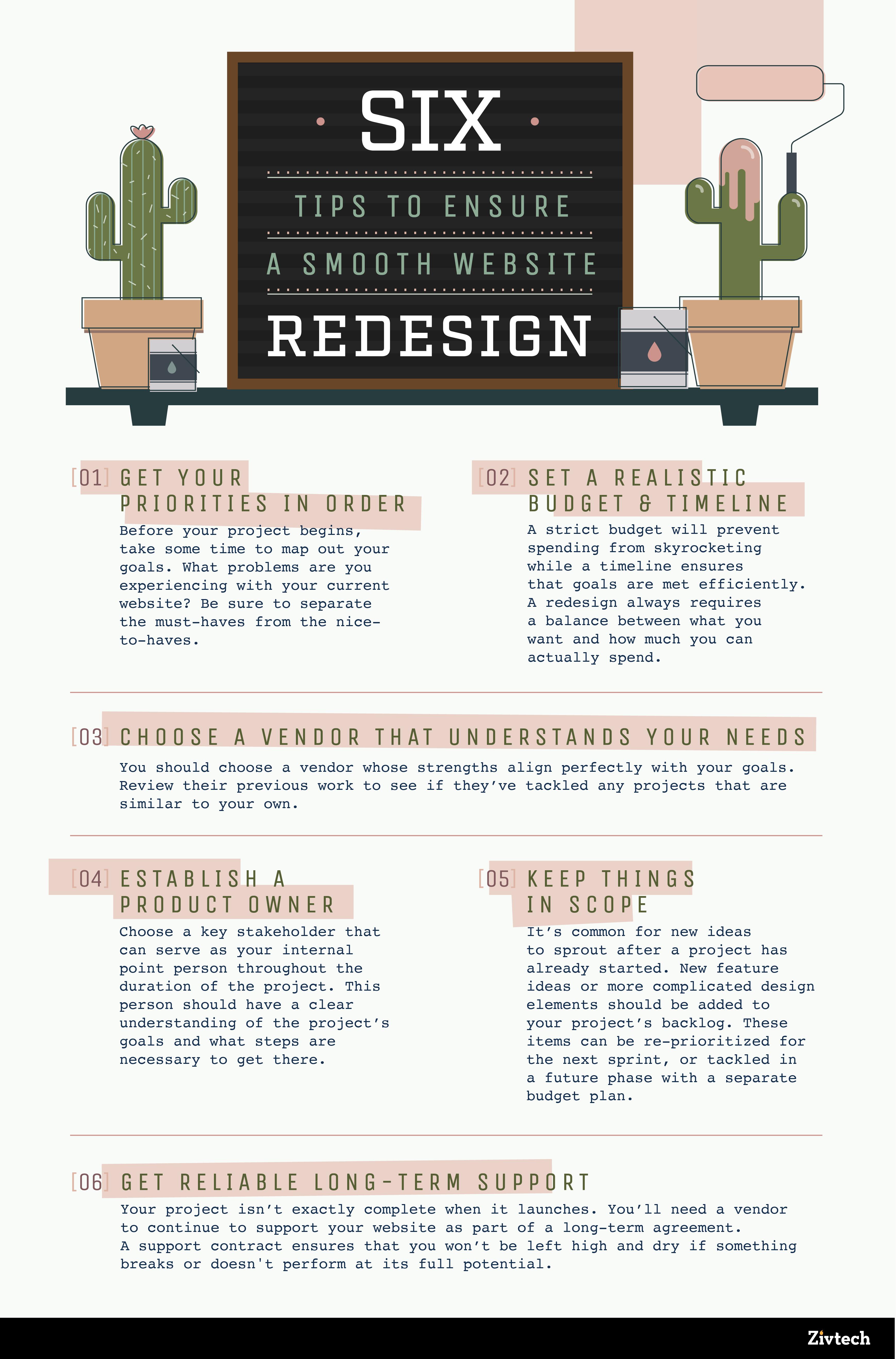Infographic 6tipsensuresmoothwebsiteredesign final