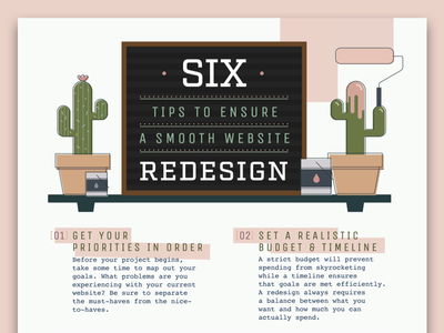 6 Tips to Ensure a Smooth Redesign Infographic typography graphic social smooth redesign graphicdesign flat graphic design design flat design icons illustration infographic infographics list vector web site website info