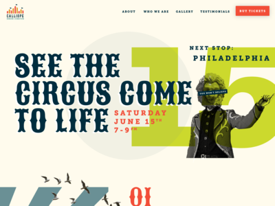 Calliope Bros. Circus Site site graphic design web design website web marketing onepage onepager circus ui ux typography branding design