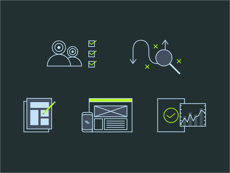UX Process Icons process uxui ux line icon set icon design iconography icon infographic branding icons vector ui illustration flat design flat design graphic design